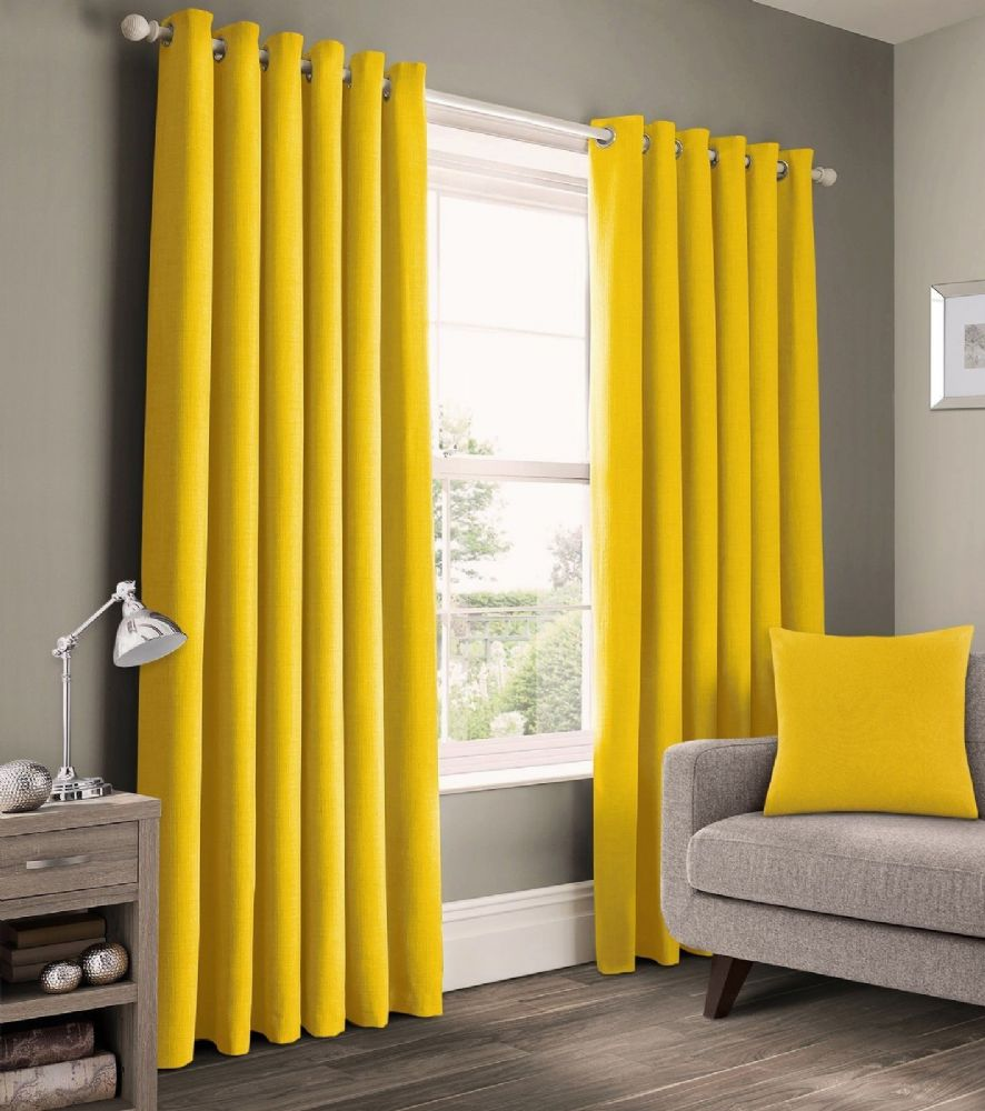 READY MADE PLAIN 100% COTTON MATERIAL UN-LINED RINGTOP EYELET PAIR OF CURTAINS YELLOW